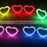 Plastic colorful flashing luminous LED lighted fluorescent heart shape party festival glasses