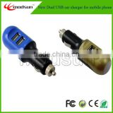 car charger for iphone 5/5s/5c/6. color dual port usb car charger for mobile phone(1.5A .2.1A)(MC1320)