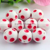 Large red polka dot with white solid gumball loose round necklaces beads for jewelry making!!
