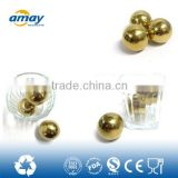 Round shape stainless steel ice cube / ice cube freezer / reusable stainless steel golden ice cube