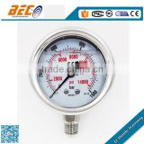(YBF-60A) 60mm dual scale all stainless steel stable structure dial style liquid super high pressure gauge for autoclave