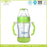 180ML Anti-colic Clear High Borosilicate Glass Baby Feeding Bottles With Handle And Bottom Cover