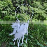 Crystal Large White Dream Catcher - White Fringe White Crocheted - Boho Crystal Dream Catcher - Bohemian Crochet Dream Catcher