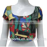 Ladies fashion crop tops sublimation printing women blouse design                                                                         Quality Choice