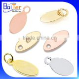 Custom Oval Shape Metal Logo Hand Stamped Small Metal Hang Jewelry Tag With Hole                                                                         Quality Choice