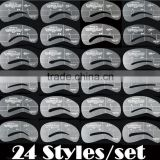 24 Styles Eyebrow Grooming Stencil Kit Template Make Up Shaping Tools DIY
