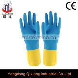 blue&yellow coller dip flock lined household latex glove/Multi-use rubber glove