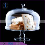 New design crystal solid glass cake dome cover with stand