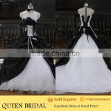 Real Works Strapless Black and White Wedding Dresses 2015 Ball Gown