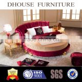 Hotel Bedroom Furniture Fabric Round Bed Glod Leaf Classic Solid Wood Legs DHR01