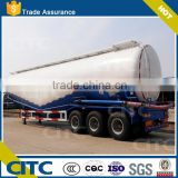 large capacity W shaped tank with air compressor and diesel engine, three axles bulk cement silo semi truck trailer