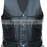 NEW MENS LEATHER WAIST COAT MOTORCYCLE CARGO POCKET VEST