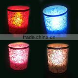Frosted glass containers for candles wholesale candle jar with multicolor glowing led tealight