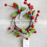 "2015 Christmas flower 5"" Christmas cream red berry candle ring with special plastic flower for christmas decoration"