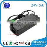 IEC320-C14 AC Inlet 110v~240v ac dc power supply 24v 5a with ce fcc
