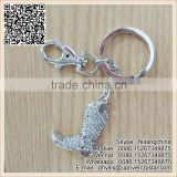 Fine Silver Shoes Keychain Crystal Diamond Key Ring For Promontion