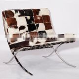 Luxury furniture wholesale reclining chair leather barcelona chair knock off cowhide dining chair