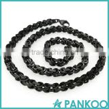 Wholesale Fashion black-color Stainless Steel retro punk Titanium Necklace Chain for Men and women