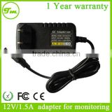 New 12V/1.5A with display lights wall plug power adapter for LCD Monitor Switching Power Supply Cord Charger