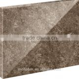 Foshan High polished irregular shaps and light brown waves quartz stone for countertop buyer
