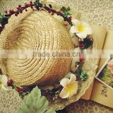 Artificial Bead Garlands Pip Berry Stem Bridal Frangipani Flower Hair Accessory Party Woman Girls Flower Wreath