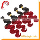 Red brazilian Remy Hair Weave Ombre Color 1B/red Colored Two Tone Hair Weave Body Wave Human Hair