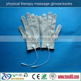 slivery fiber tens vibrating massage gloves for electro muscle stimulator