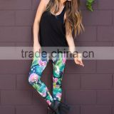 Ladies Floral Pants Flower Printing Leggings Women Fashion Summer Pants & Capris Stretch Legging