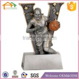 Factory Custom made best home decoration trophy polyresin basketball female