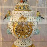 Exquisite Flower and Bird Design Ceramic and Brass Table Clock, Elegant Embedded Urn Jar Table Clock