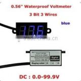 "Blue 0.56"" 3 bit 3 wires DC0-100V Waterproof Voltmeter"