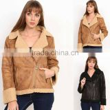 Camel Black Winter Fashion Steet Style Modest Long Sleeve sherpa faux leather rider jacket winter fur coat
