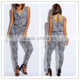 New sexy women LEOPARD ANIMAL PRINTED COWL NECK BOW TIE BACK BELTED CLUBBING bodycon fit CATSUIT JUMPSUIT OEM cheap