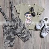 Camouflage clothing baby boys two-piece suit carttoon characters printed T-shirt + overalls twinset for baby boy