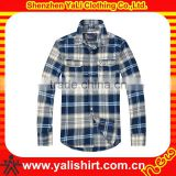 Fashion fitness comfort cheap cotton long sleeve two pocket cotton casual wholesale plaid flannel shirt