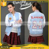 Make Your Own Cotton Varsity Letterman College Jackets Pattern Girls Sailor Collar Light weight Blue and White Slim Fit Jacket