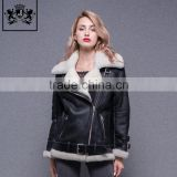 2017 Fashion Women Cool Zip Front Black Leather Jacket Woman, Real Lamb Fur Jacket, Leather Motorcycle Jacket