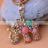 Gold plated Turquoise blue stone with rhinestone crystal elephant charm keychain