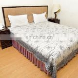 Indian Latest Hand Block Print Bedsheet Bees Design Cotton Bed Sheet King Bedspread Gray Bedding Throw