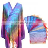 Cheap high quality wedding tatting warm peacock feathers yarn-dyed weaving poncho scarf