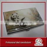OEM Factory Price Classcial Business Gift Custom Aluminum Metal Epoxy Panda Design Business Card Holder