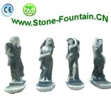 Green Color Four Seasons Godness Carvings Marble Statues Fountain