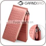 Ladies woven sheep skin leather wallet with zipper genuine leather long wallet for women