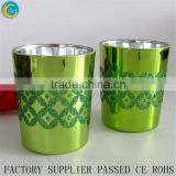 2016 Newest Morden Green glitter design glass votive candle cups glass jars for candle making wholesale home decorate