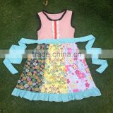 New style baby girl party dress children frocks designs summer girls boutique fancy pattern dress with belt