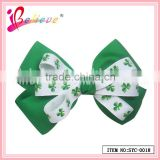 Ireland fashion clover grosgrain ribbon bow hair clip accept custom made tie clip (SYC-0018)