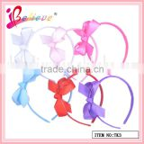 Fashion modern girls hair accessories wholesale nice colors ribbon satin bow headband (TK3)