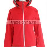 red color with hood winter wholesale softshell jacket outdoor women fashion jacket custom