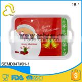 high quality 18 inch christmas design handle melamine serving tray