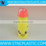 550ml cute animal plastic cheap promotional sports water bottle with flip up straw